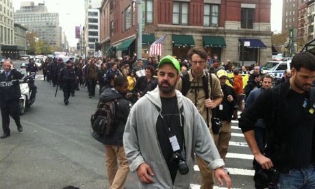 Occupy Wall Street protesters marching back to Zuccotti Park