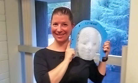 Kayt Sukel with an 'orgasm mask' for use in an MRI scanner