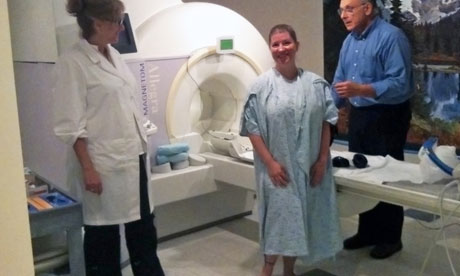 Kayt Sukel before entering the MRI scanner for orgasm research