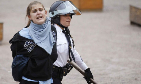 An Occupy Wall Street protester is arrested in Duarte Square, New York.