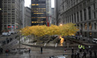 An empty and closed Zuccotti Park in New York, after protesters were evicted.