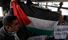 Palestinian activists on bus