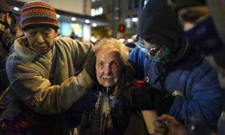 Seattle activist Dorli Rainey, 84, after being hit with pepper spray at an Occupy Seattle protest