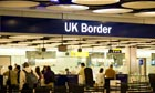 UK Border control at Terminal 5 Heathrow Airport