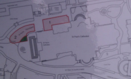 Map of St Paul's Cathedral showing areas Corporation of London says protesters must leave