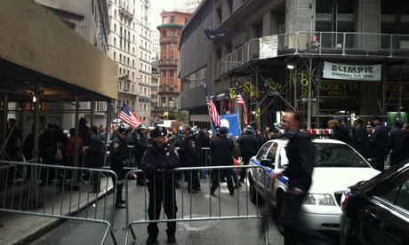 Occupy Wall Street protesters at William Street and Exchange Place in Lower Manhattan