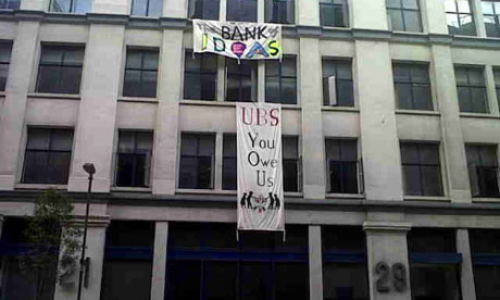 UBS building under occupation by Occupy London, 18 November 2011.