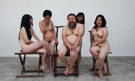 The Chinese artist Ai Weiwei poses with nude women in Beijing. Photograph: ...