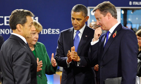 David Cameron at the G20 summit in Cannes - with Nicolas Sarkozy, Angela Merkel and Barack Obama