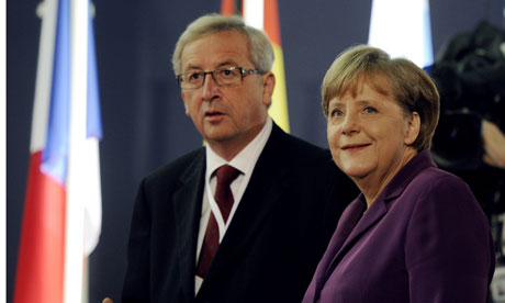 Luxembourg PM Jean-Claude Juncker and German chancellor Angela Merkel
