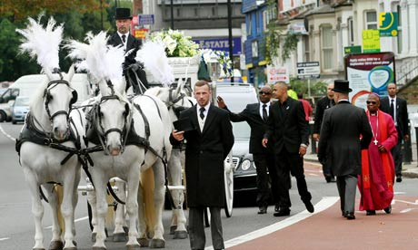 The funeral of Mark Duggan, Tottenham, London.