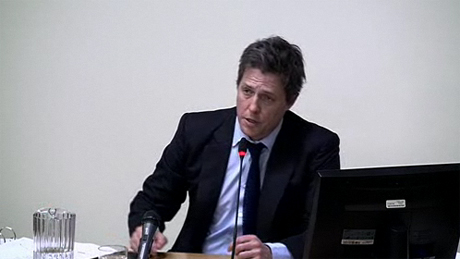 Hugh Grant discussing the British press at the Leveson inquiry