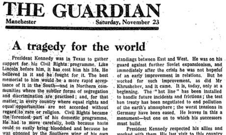 Guardian leader on JFK's death