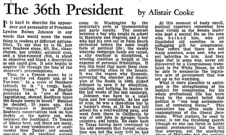 Alistair Cooke profile of President Johnson, 1963