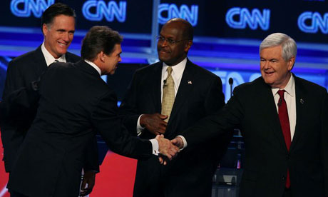 Republican presidential candidates Rick Perry, Mitt Romney, Herman Cain, Newt Gingrich