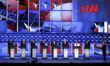 Republican presidential candidates during a Republican presidential debate in Washington, DC