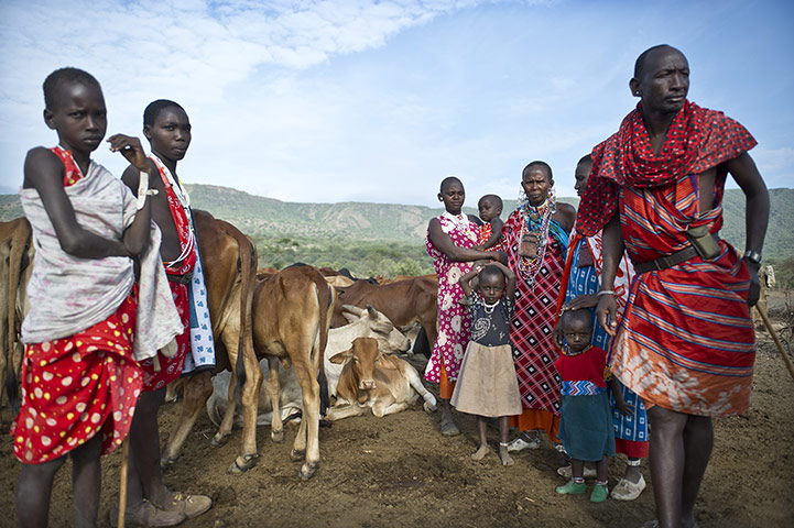 Climate change in Kenya: Maasai pastoralists living near the Tanzanian border Kojiado District Kenya