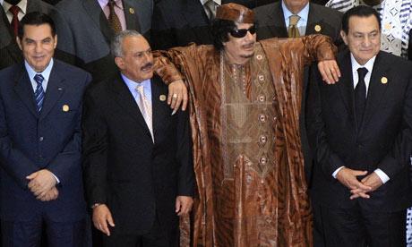 Muammar Gaddafi, Hosni Mubarak, Abdullah Salah and Ben Ali at Afro-Arab summit in Sirte, Libya