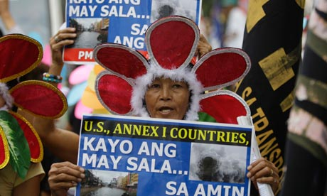 A Filipina activist during a climte change rally near the US embassy in Manila