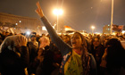 Egyptian women join a mass protest in Cairo's Tahrir Square