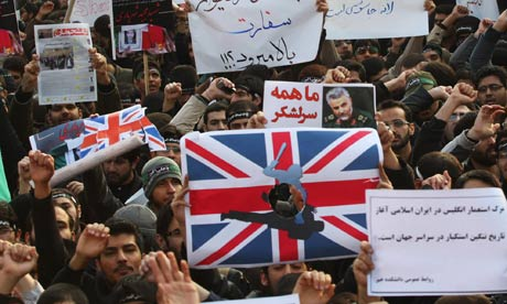 Iranian demonstrators at the British Embassy in Tehran