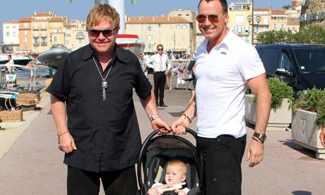 Sir Elton John and David Furnish with Zachary