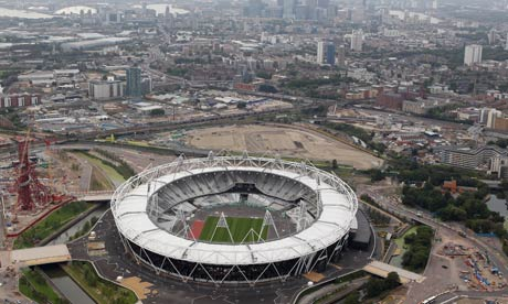 Aerial views of the London 2012 Olympic stadium