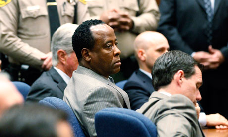 Conrad Murray listens as the jury returns a guilty verdict in his involuntary manslaughter trial