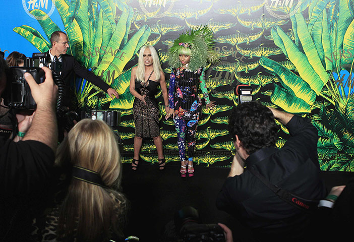 Versace for H&M: Designer Donatella Versace arrives with singer Mina Versace for H&M launch