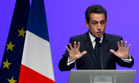 Nicolas Sarkozy delivers his speech on the eurozone crisis in Toulon