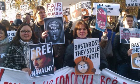 Russians in London protesting the election.