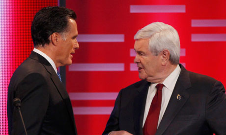 Newt Gingrich, right, dominated the Republican debate in Iowa while Mitt Romney foundered