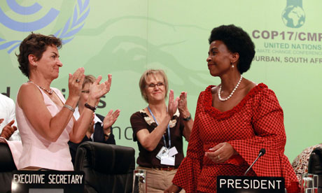 Maite Nkoana-Mashabane (right) and Christiana Figueres (left) at Durban climate change conference