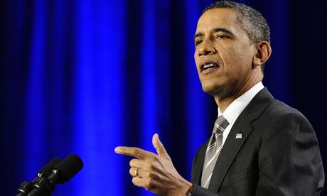 Barack Obama speaks at a campaign event