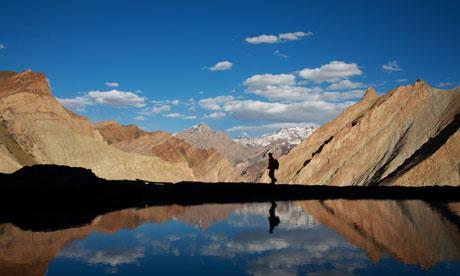 a trekker in the himalaya
