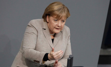 Angela Merkel delivers a speech in the German parliament