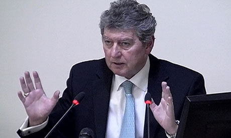 Former News of the World editor Colin Myler speaking at the Leveson inquiry