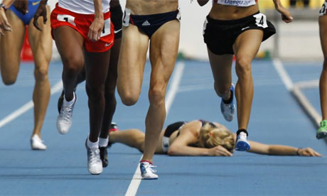 Fallen runner in race