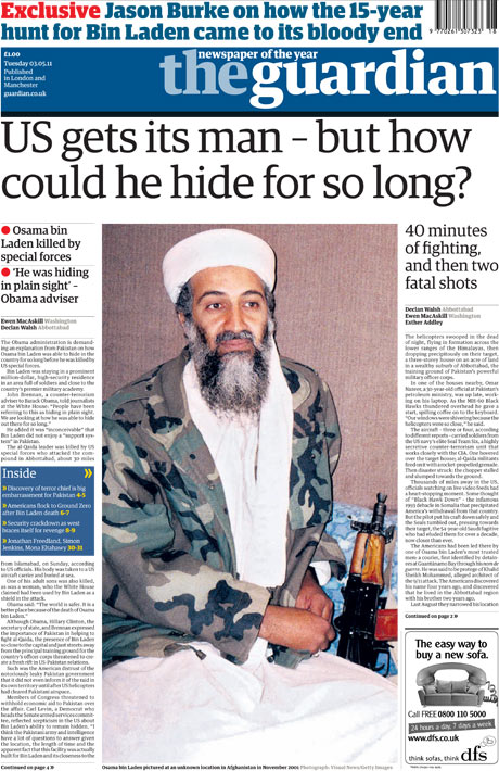 May 1 Osama frontpage