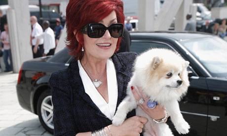 Sharon Osbourne with one of her dogs.