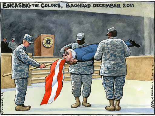 ENCASING THE COLORS, BAGHDAD DECEMBER 2011 - Steve Bell Cartoon