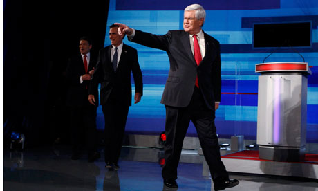 Republican presidential candidate Newt Gingrich at the Fox News debate in Iowa