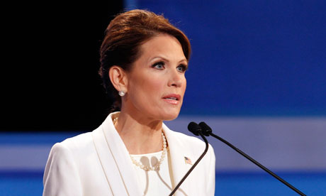 Republican candidate Michele Bachmann at the Fox News debate in Iowa
