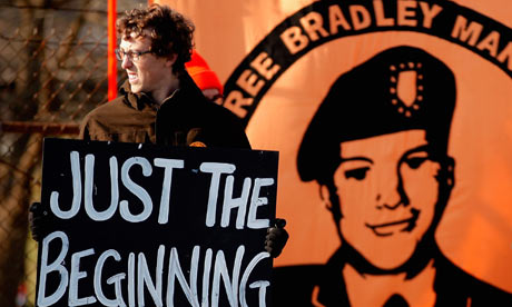 A supporter of Wikileaks suspect Bradley Manning outside Forte Meade