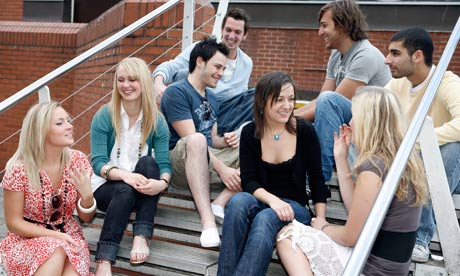 Students sit outside the Student Union SU bar at Nottingham Trent University