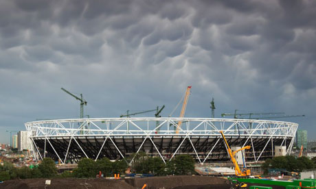 The London Olympic stadium under construction