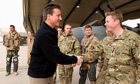 David Cameron speaks to RAF servicemen on a visit to Kandahar airfield in Afghanistan