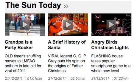 The video section of the Sun's website