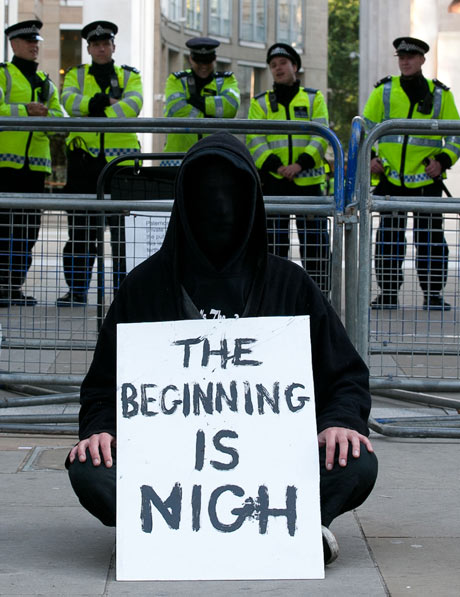 Occupy protester outside St Paul's cathedral, London, November.