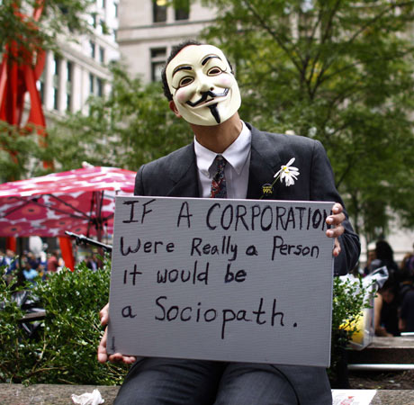 Occupy Wall Street demonstrator, New York, October.